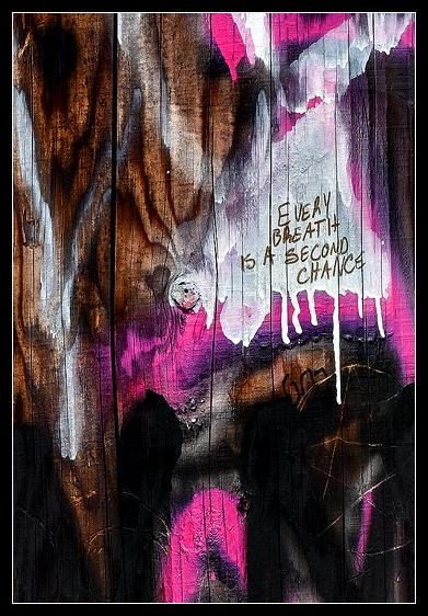 A utility pole covered in graffiti is turned into a philosophical piece of impressionism.Santa Barbara, CA<br />February 2015