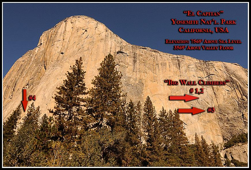 "Yosemite is known as the ""Home of the Big Wall Climbers"" - those intrepid, fearless souls, like Royal Robbins and YvonChouinard (Patagonia founder) to name but two, who have stretched the boundaries and made death-defying attacks upon Yosemite's biggest and most dangerous rock faces such as 'El Capitan' whose sheer granite face rises some 3500+ vertical feet above the valley floor.On any given day visitors can catch a glimpse of any number of skilled big wall rock climbers defying gravity and pressing on ""because it's there!""Press on yourself to the next group of photos to see these climbers."