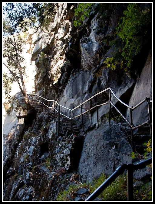 The final push up the narrow stair trail to the top of Vernal Fall.Trail origins date back to the late 1800s, with most modern improve- ments made by the Civilian Conservation Corps (CCC) during the depression of the 1930s.Let's hope those railings hold!Photo by John Somerville