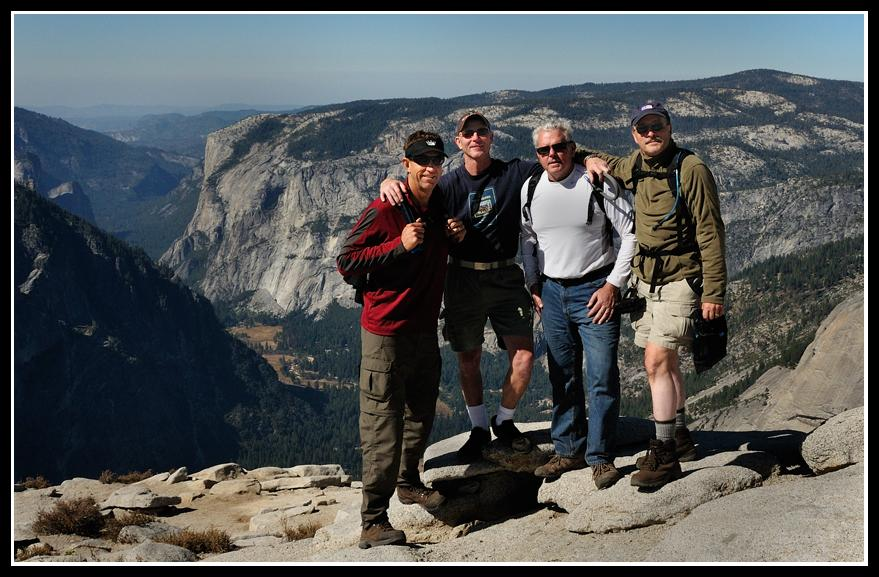 "Summit ""BECAUSE IT'S THERE!!""The ""Yosemite October 2009 Half-Baked Half Dome Expeditionary Force"" achieves its objective. Saturday, Oct. 10, 2009.L-R: Bill Yingst, John Somerville, Phil Bugay, Chuck Cagara."