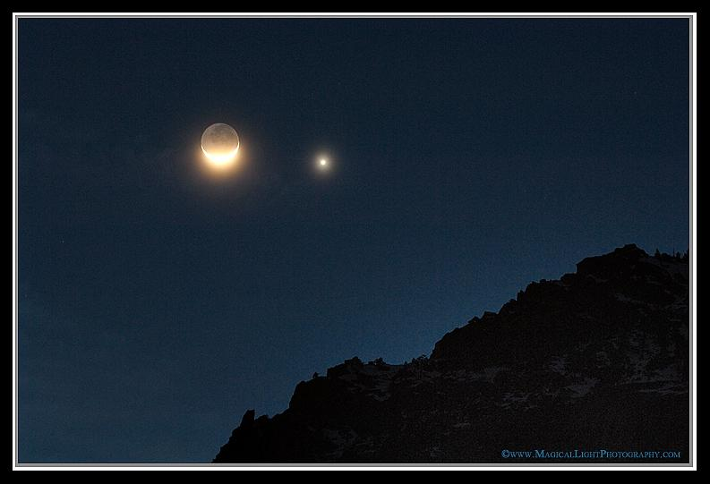 Moon & Venus Visit Yosemite<br />February 27, 2009<br />Yosemite Valley, California