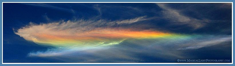 "Santa Barbara, California<br />April 18, 2009<br />This relatively rare optical phenomenon is described as a ""Circumhorizontal Arc."" Some mystics also refer to this as ""earthquake light,"" believing its appearance can presage an earthquake, though no current scientific evidence supports this idea."