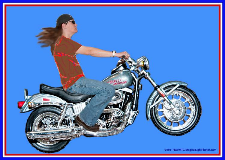 "Harley = 1:18 Scale Model<br />Rider = 1:1 Full Size Human Model<br />February 5, 2011Photoshop wizard Marie Taylor-Cagara created this grand composite, commissioned to present as a thank you card.The 1977 Harley-Davidson scale model was photographed on table top while the human rider was positioned in a riding position against a studio backdrop. The magic of Photoshop was painstakenly applied and ""Voila!"""