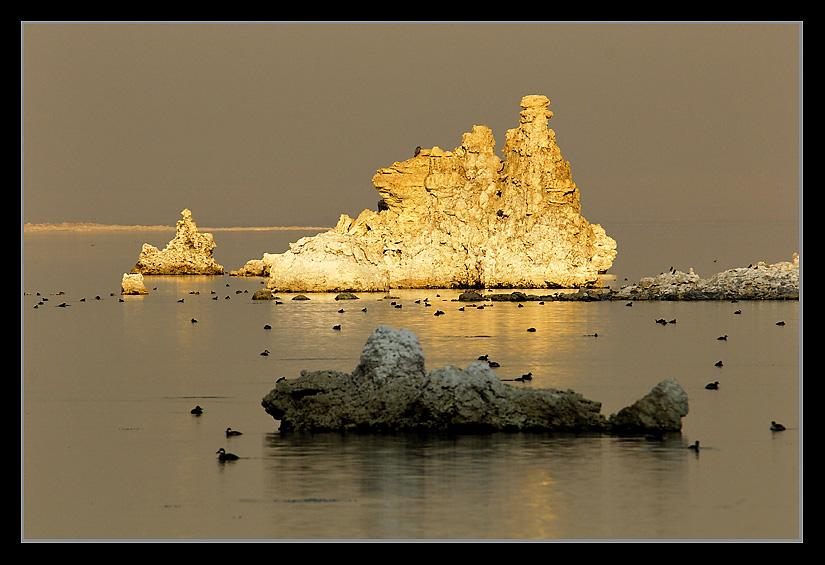 Tufa create a surrealistic tableau at sunset.Mono Lake Tufa; Lee Vining, CA<br />Oct. 27, 2007