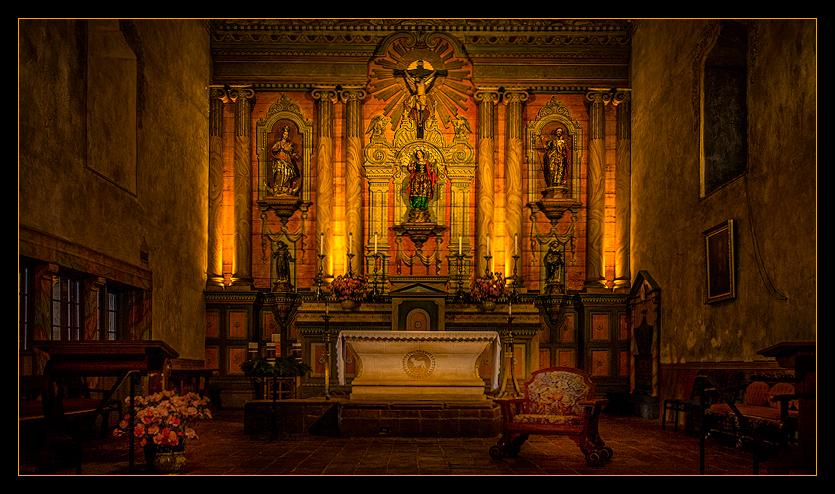 "The altar inside ""The Queen of California Missions."""