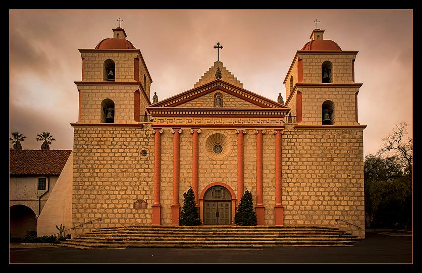 "Santa Barbara Mission<br />Established in 1786 as the tenth of twenty-two missions built approximately a day's walk apart by Franciscan missionaries, the Santa Barbara Mission, by dint of its exceptional architecture and beauty, has earned the title ""Queen of the California Missions."""