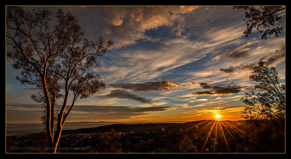 """Another """"typical"""" sunset over paradise as seen from the """"American Riviera"""" high above Santa Barbara, California, USA.January 2015"""