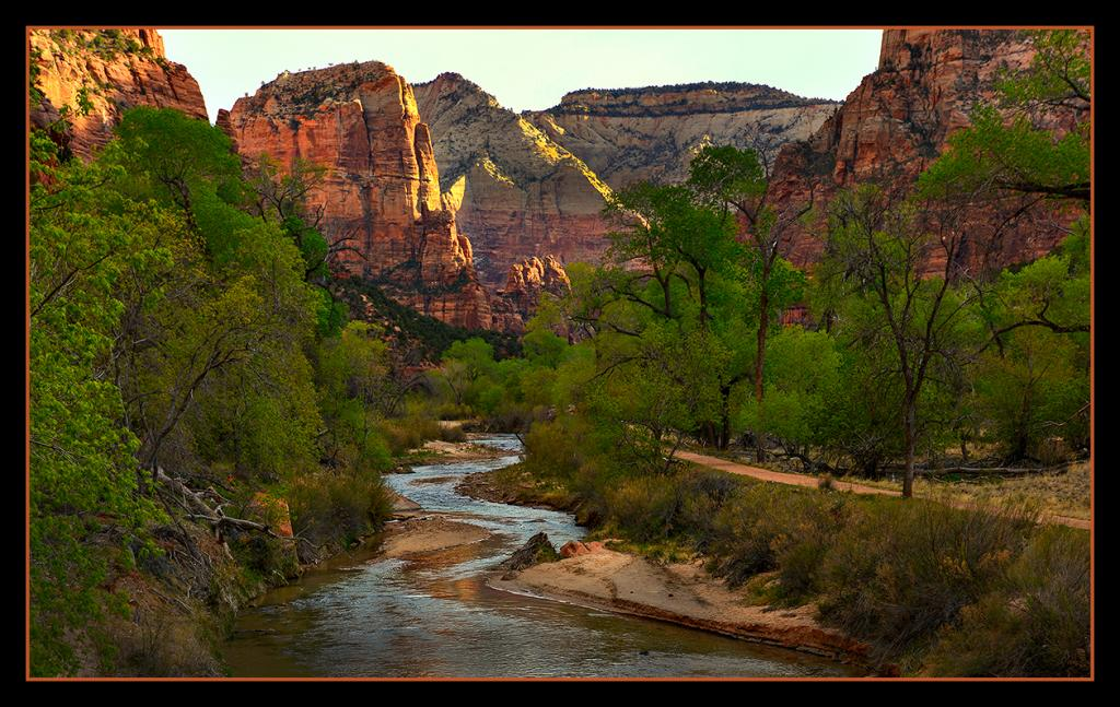 A pristine Spring morning dawns bright and clear.<br />Zion National Park, Utah, USA.    April 2014