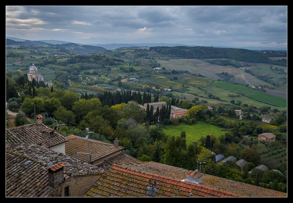 Montepulciano, Tuscany.The Sanctuary of the Madonna di San Biagio, built in the sixteenth century, is seen at left just outside the walled city.