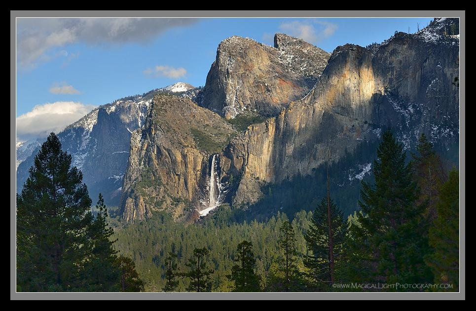 Dappled sunlight plays across the granite face of Bridalveil Fall.<br />February 21, 2013