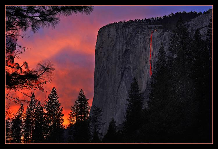 "At 5:43 p.m. on February 13, 2014 (after official sunset) sunlight breaks through cloud cover at the western horizon to produce the stunning ""Firefall"" effect on Horsetail Fall, located at the eastern edge of majestic icon El Capitan while seemingly setting the sky ablaze at the same time."