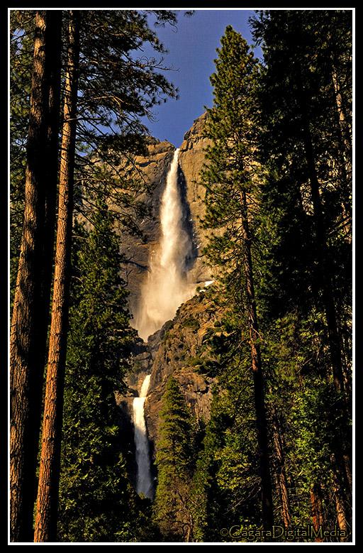 A total drop of 2,425' (739 meters) in three sections makes this the tallest waterfall in North America.