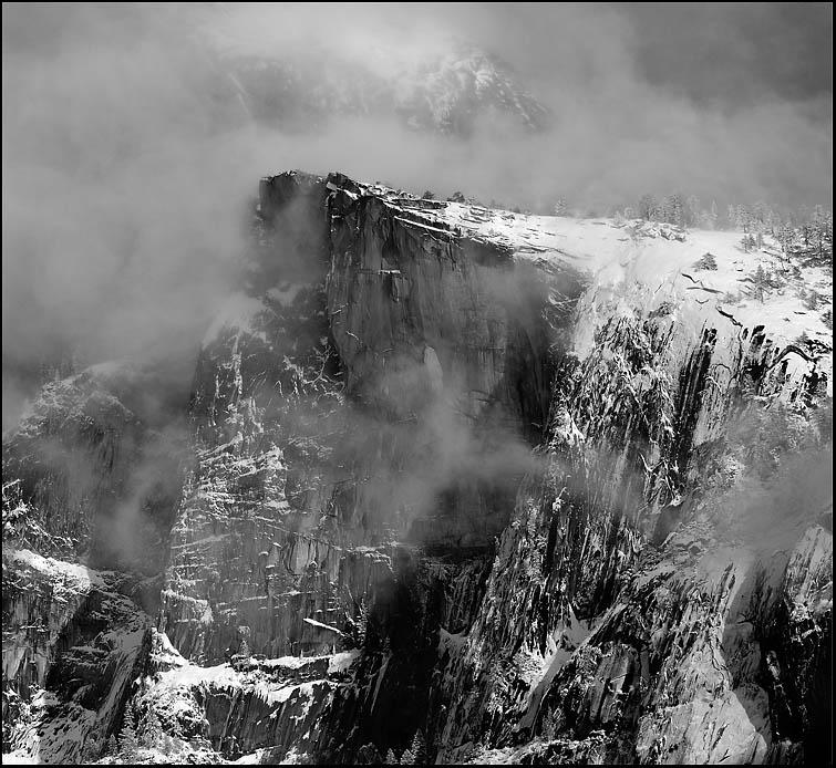Storm clouds rolled in and obscured the Northwest face of Half Dome. Then, a break in the curtain revealed this dramatic view of the 'Diving Board.'
