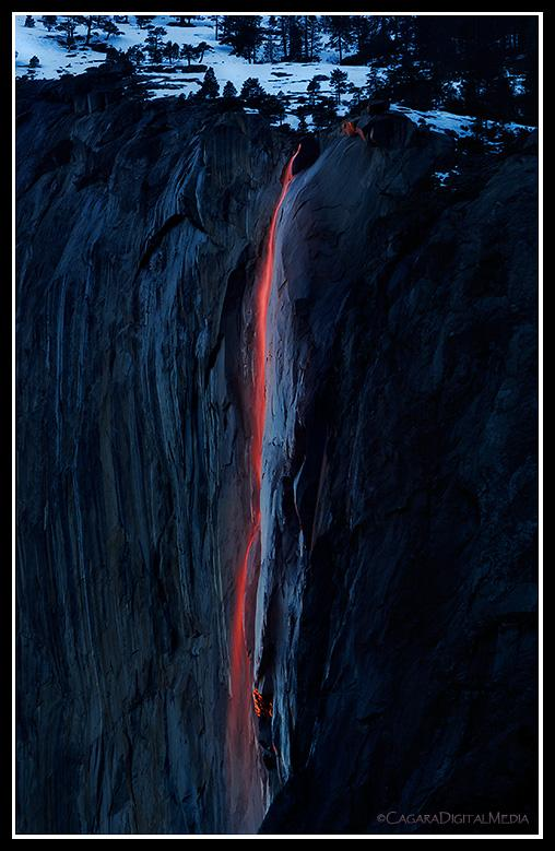 The 'Holy Grail' of Horsetail Fall devotees appears AFTER official sunset, when the deep red wavelengths of light below the western horizon renders the wispy water a deep, dark ruby red.