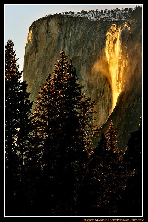 Forty-seven minutes before official sunset, windy updrafts create a swirling veil of mist on Horsetail Fall.