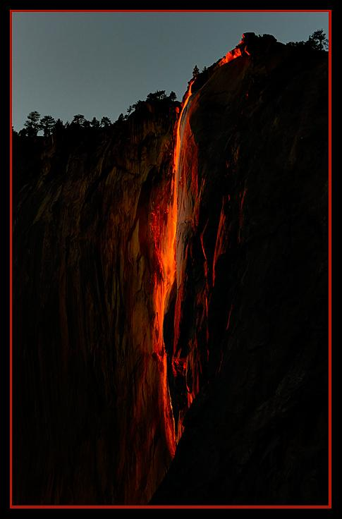 A February 2012 Associated Press wire story under the above headline brought world-wide attention to Yosemite's 'Horsetail Fall.' It described the natural phenomenon that creates a stunning visual scene reminiscent of the lava flow from an active volcano.
